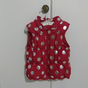 Healthtex size 4T red and silver puffer vest